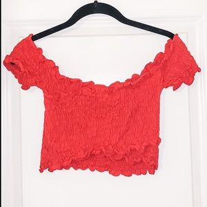 American Threads Off the Shoulder Crop Top Size L